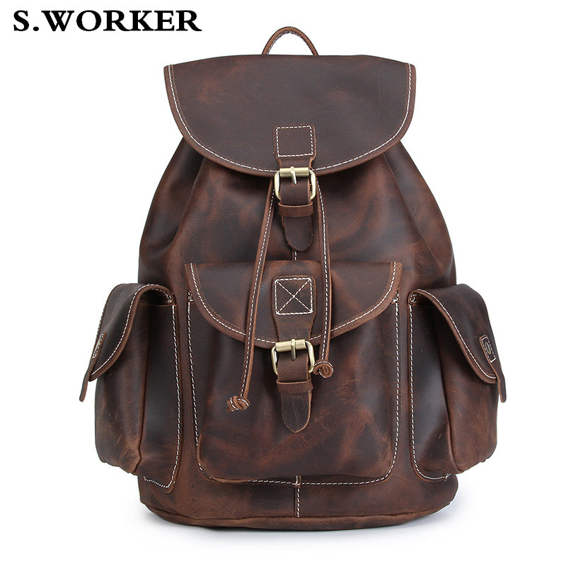 """Men Vintage Crazy Horse Leather Backpack Unisex Cow Leather 14"""" Laptop Rucksack Thick Genuine Leather School Casual Weekend Bag"""