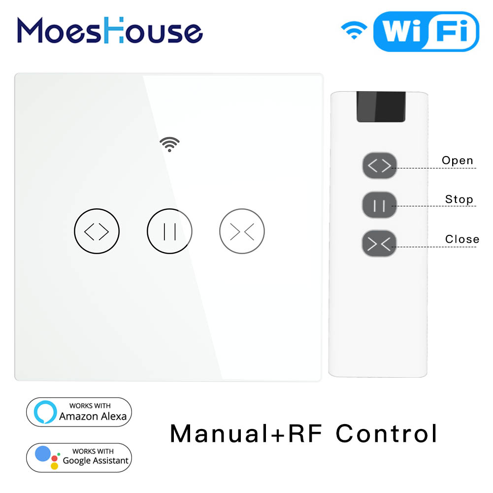 RF WiFi Smart Touch Curtain Blinds Roller Shutter Switch Tuya Smart Life App Remote Control,Work With Alexa Echo Google Home