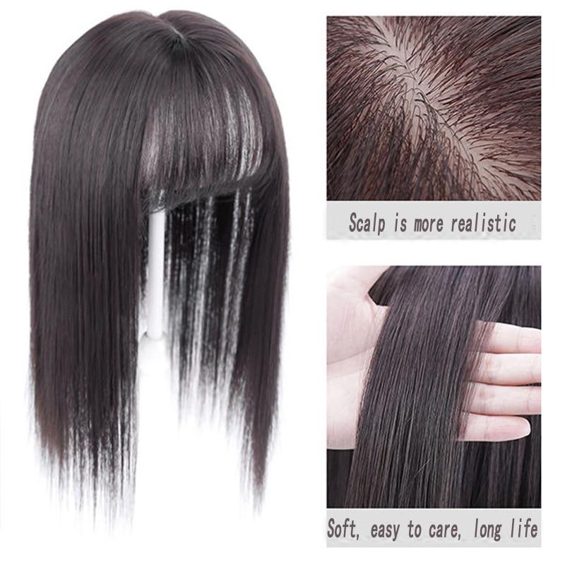 AOOSOO длинные прямые волосы с черными и коричневыми заколками для волос, челки, высокотемпературные волосы из волокна, накладные заколки для ...