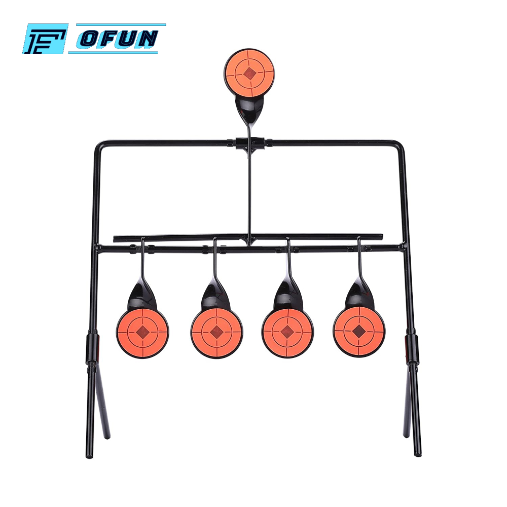 Hot Sale 5 Targets Self Resetting Spinning Air Gun Rifle Shooting Metal Target Set Air Gun Pellet BB Gun Resetting Target
