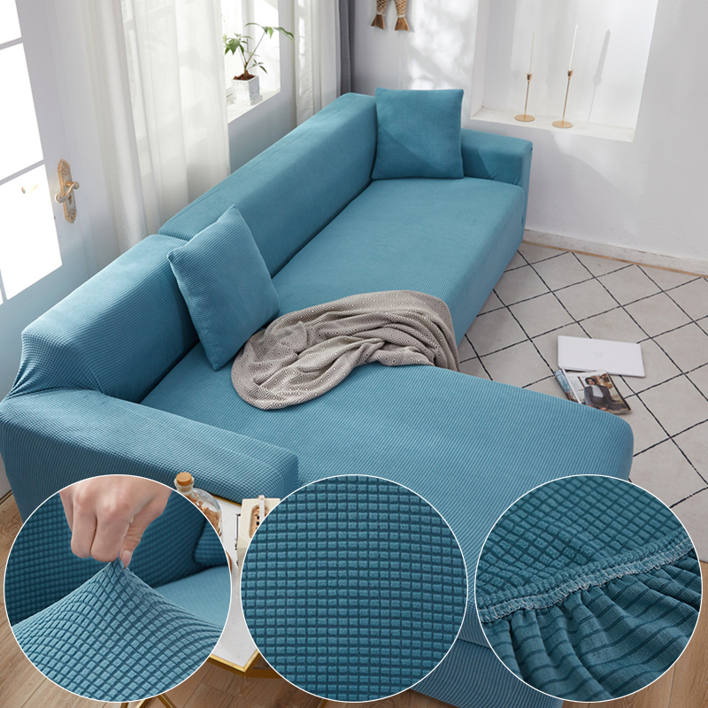 Plaid Corn Fleece Fabric Blue Sofa Cover For Living Room Solid Color All-inclusive Modern Elastic Corner Couch Slipcover 45012