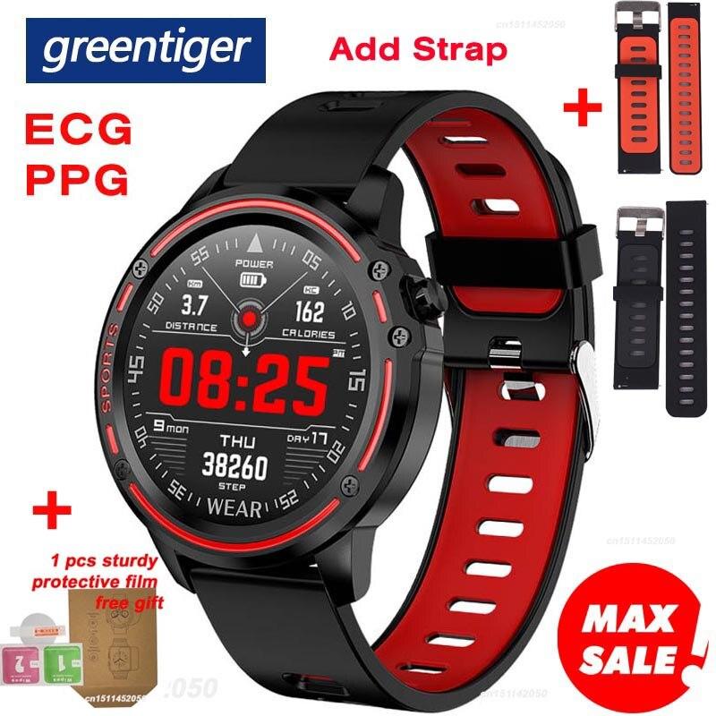 Greentiger New L8 Smart Watch Men ECG + PPG IP68 Waterproof Blood Pressure Heart Rate Fitness Tracker sports Smartwatch VS L5 L7(China)
