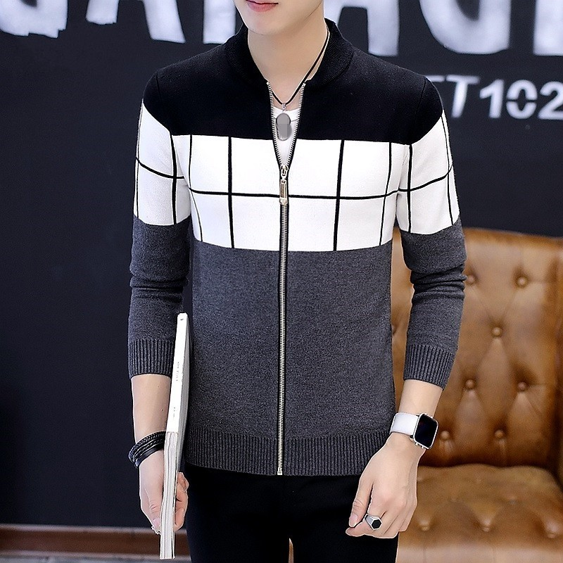 Men Korean Slim Coat 2020 Autumn New Casual Cardigan Knitted Sweater Outerwear High Street Mens Zipper Baseball Jacket M-XXL