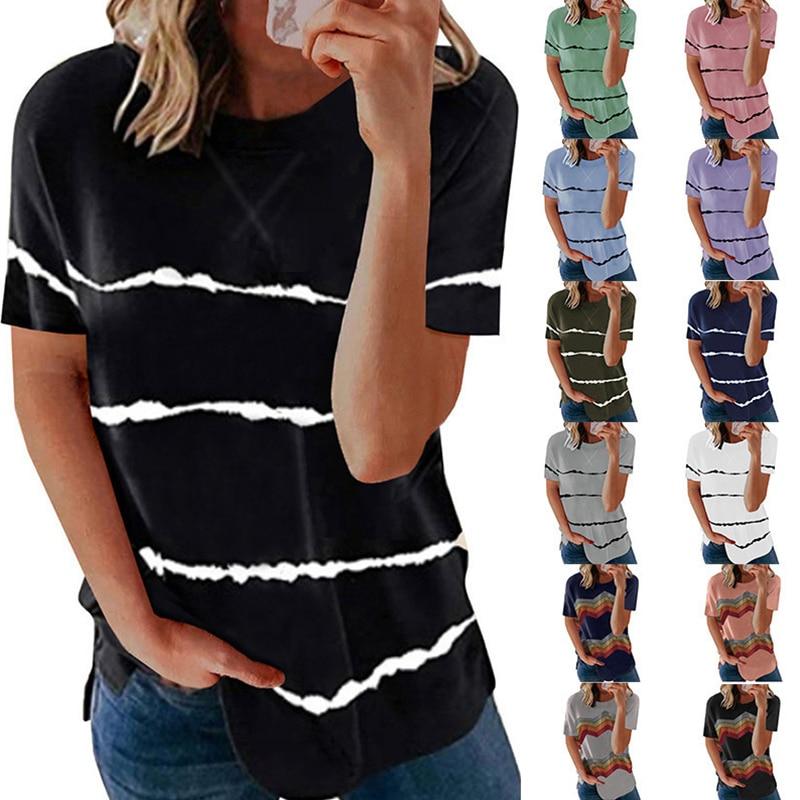 Модная женская футболка, новинка, женская одежда большого размера, футболка в полоску, свободные футболки с круглым вырезом, Топ для женщин, ...