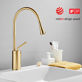 Modern Brushed Gold Basin Faucets Single Handle 360 Rotation Mixer Tap Washbasin Water Crane For Bathroom Vessel Sink Faucets 14