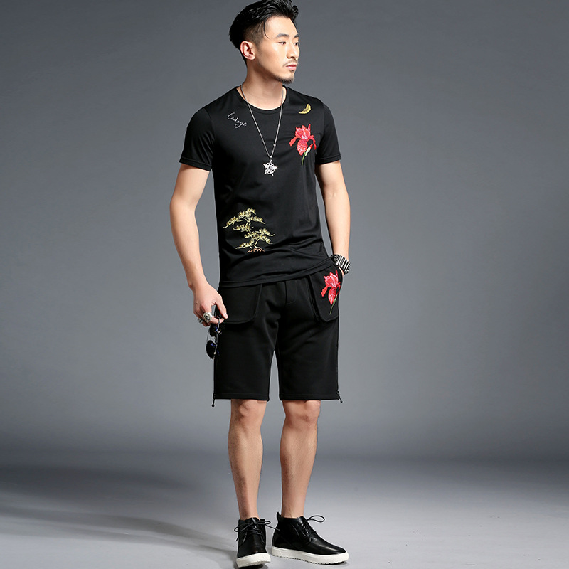 Tao Bai Ye MEN'S Suit Chinese-style Mercerized Cotton Embroidered Short Sleeve T-shirt Shorts Two-Piece Set T15013/K5013