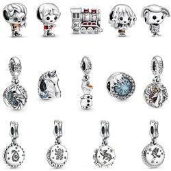 Real 925 Sterling Silver Beads Charm Potter Frozen Theme Elsa & Nokk Charms Original Fit Pandora Bracelets & Bangles DIY Jewelry
