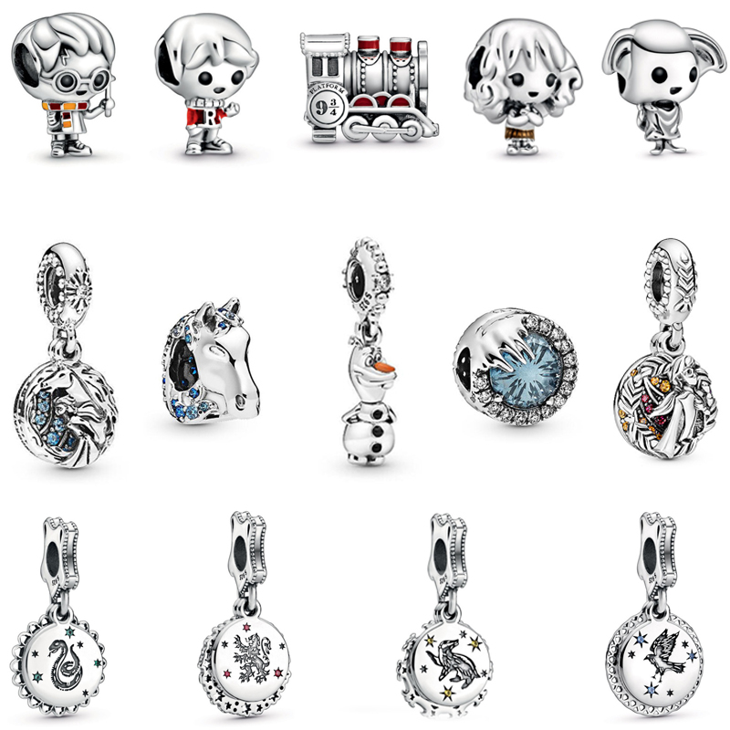 Real 925 Sterling Silver Beads Charm Potter Frozen Theme Elsa & Nokk Charms Original Fit Pandora Bracelets & Bangles DIY Jewelry