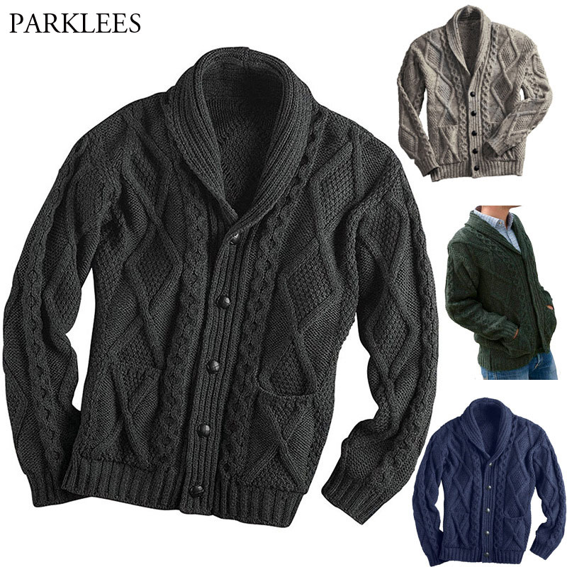 Knitted Cardigan Sweater Jacket Men Single Breasted Button Placket Mens Sweaters Coat Casual Slim Fit Twist Braided Jumper Pull