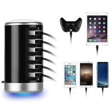 6 Ports Intelligent AC USB Charger 50W 10A Wall Charger For Cellphone Tablet Travel Multi port Home USB Charger multi port usb wall charger 75w 4 ports