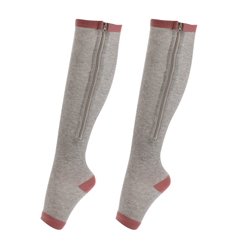 Compression Zip Up Socks Open-Toe Zipper Leg Support Knee Stocking Gray