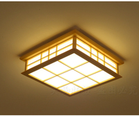 Japanese style Delicate Crafts Wooden Frame led Ceiling Light luminarias para sala dimming led ceiling lamp