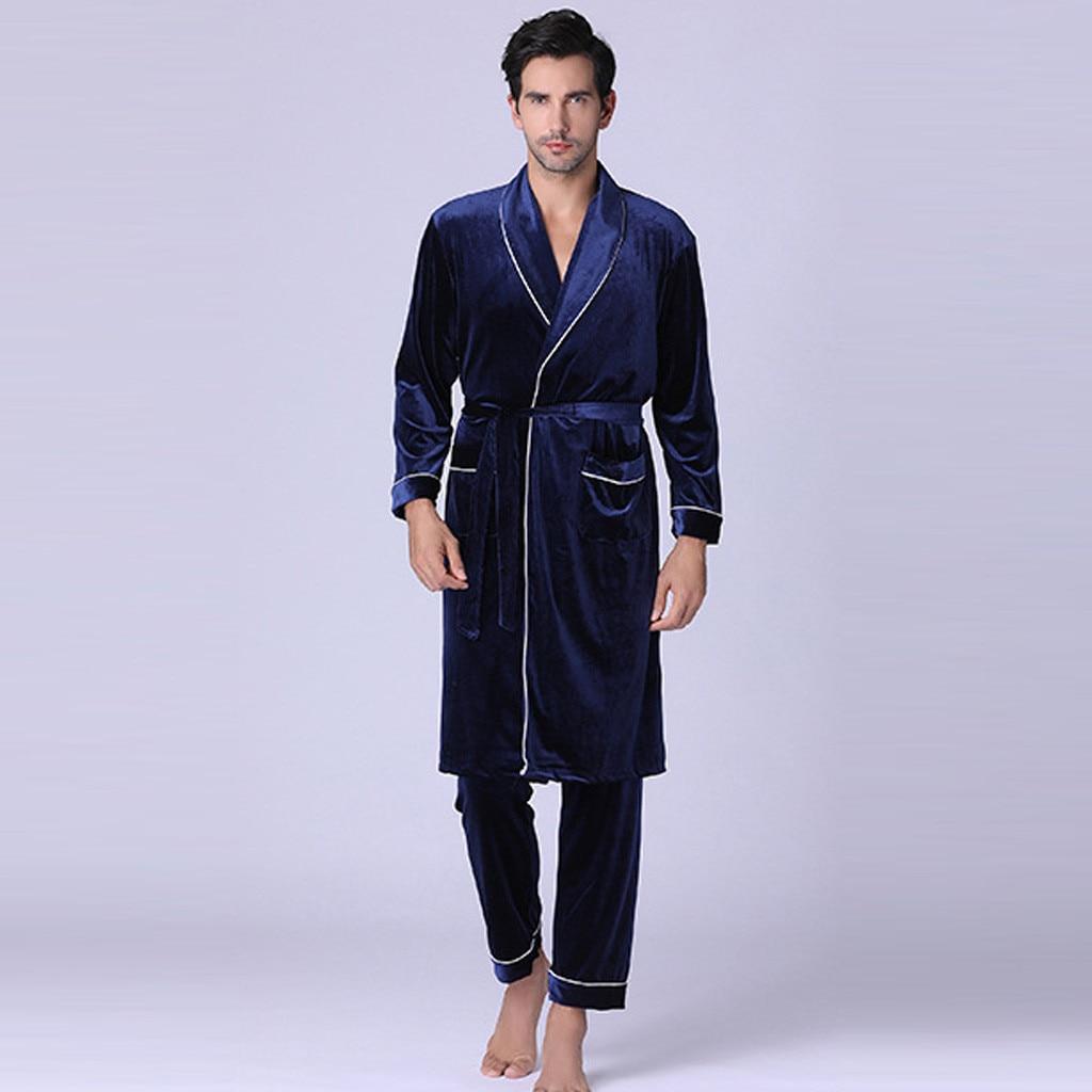 2019 Men Pajama Sets Long Sleeve High Quality Ice Silk Pajamas Gold Velvet Men Sleepwear Sexy Mens Pajama Set Mens Pajamas Sleep