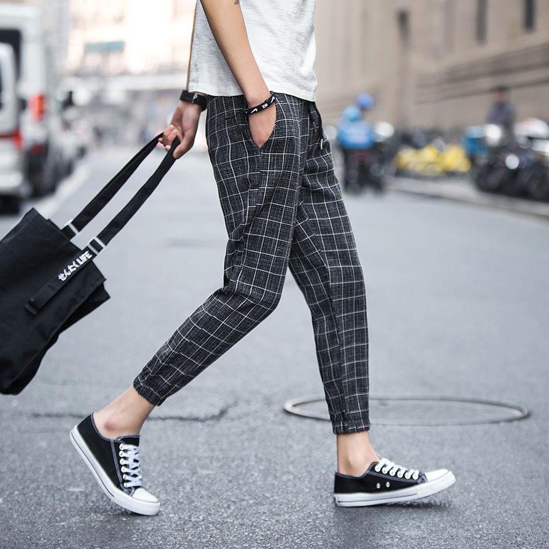 Брюки в клетку мужские, для бега, уличная одежда, летние, до щиколотки, шаровары с эластичной талией, свободные, 5XL, большие размеры, повседневные, черные, серые|Повседневные брюки|   | АлиЭкспресс