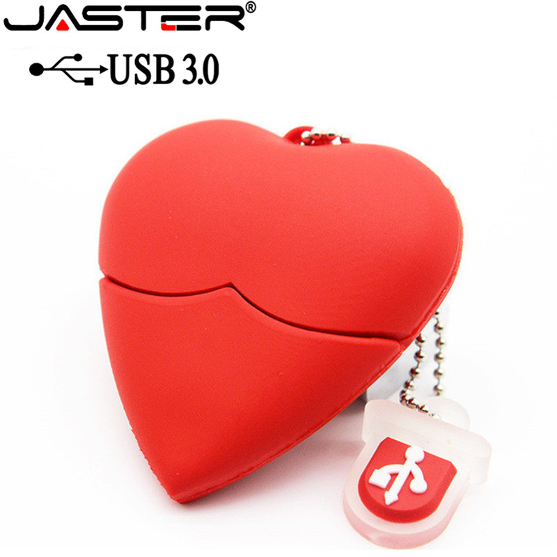 JASTER USB 3.0 Red Heart-shaped Usb Flash Drive Pen Drive 4GB/8GB/16GB/32GB/64GB Beauty Memory Stick Lovely Gift For Girl