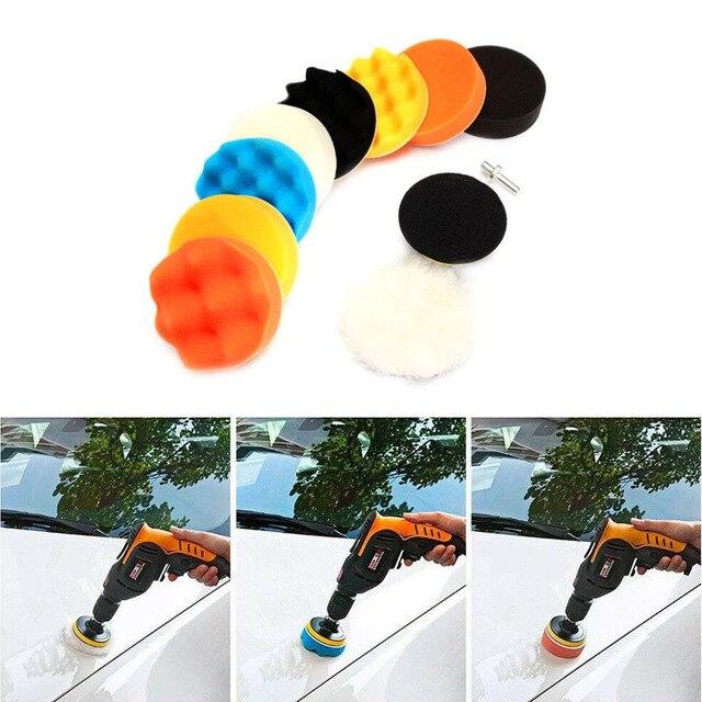 3 אינץ רכב ספוג ליטוש כרית 11Pcs מרוט שעווה ספוג צמר גלגל ליטוש Pad עבור רכב לטש תרגיל מתאם ליטוש כרית