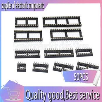 50 piezas de agujero redondo socket IC conector DIP 8 14 16 18 20 24 28 40 pin DIP8 DIP14 DIP16 DIP18 DIP20 DIP28 DIP40 pines
