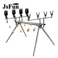 Aluminum Fishing Rod Pod Stand Holder Bite Alarm Swinger Indicator 4 colors Carp Fishing Tackle Set Retractable Pole Pod FO428