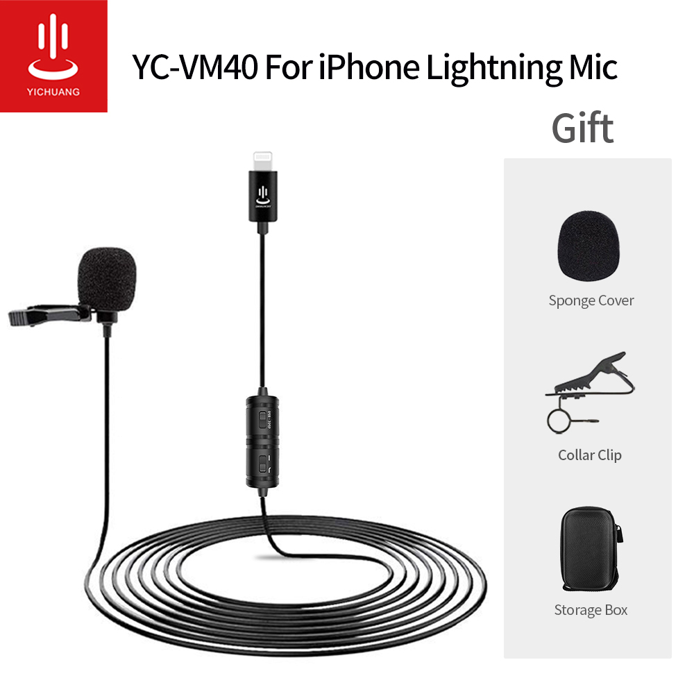 Mini Microphone YC-VM40 Audio Video Recording Lavalier Condenser Microphone Lightning Mic For iPhone X Xr Xs max 8 11/iPad