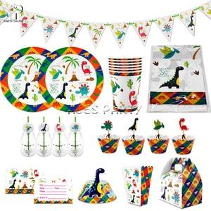 Image 5 - Meninos crianças 2019 novo tema dino toalha de mesa capa festa aniversário utensílios de mesa balão caixa de doces placa de bandeira copo suprimentos