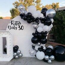 99 шт. черный, белый цвет шары гирлянда хром конфетти серебристый воздушный шар арки металла Globo, хороший подарок на день рождения Свадебная в...