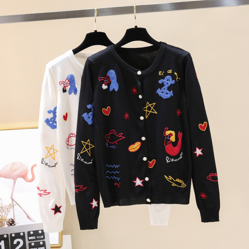 Fashion New Heavy Industry Round Neck Color Embroidery Knitted Sweet Fashion Sunscreen Coat