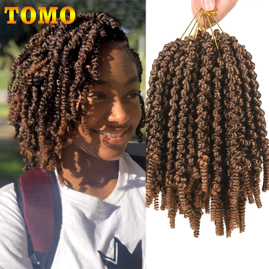 TOMO Pre-twisted Bomb Spring Twist Hair 8 Inch Passion Twists Crochet Hair 15 Roots Synthetic Braiding Hair Extensions