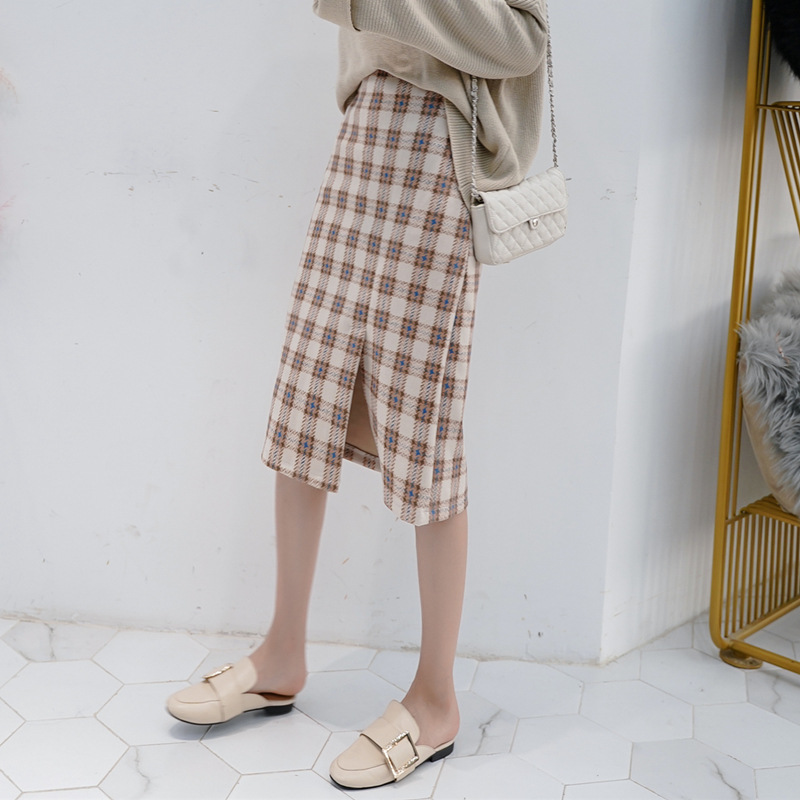 Photo Shoot Plaid Skirt 2019 Spring Clothing New Style Casual Retro Hong Kong Flavor High-waisted Suede Longuette Skirt