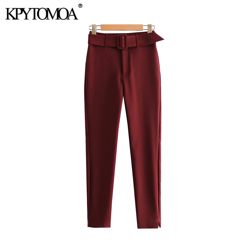 Vintage Stylish Office Wear With Belt Pants Women 2020 Fashion High Waist Zipper Fly Female Ankle Trousers Pantalones Mujer
