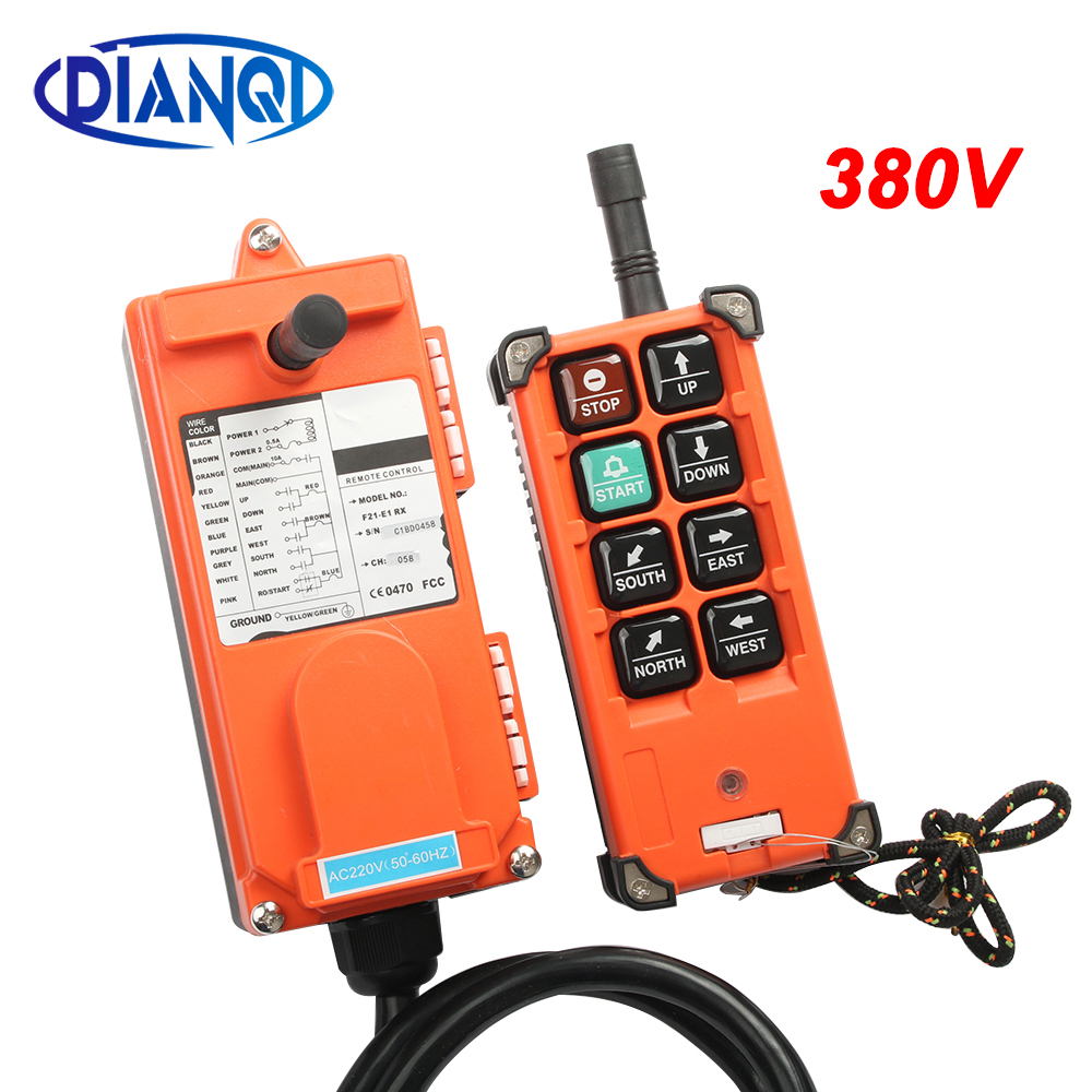 AC 380V  Industrial Remote Control Switch Crane Transmitter 8 Channels F21-E1B 1 Receiver+ 1 Transmitter