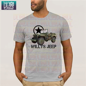 Hot Sale New mens T Shirt Willys Jeeps T-Shirt Military Nostalgia Ww2 d-day Historical Vehicle Allied Wwii Funny O Neck