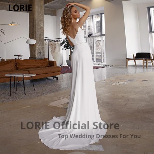 LORIE White Mermaid Wedding Dresses Soft Satin Beach Bridal Gowns V-Neck Spaghetti Straps Luxury Beading Princess Party Gowns 2