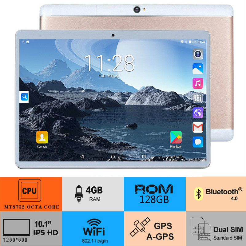 Free Shipping Android 8.0 OS 10 Inch Tablet Octa Core 3G 4G FDD LTE 4GB RAM 128GB ROM 1280x800 WiFi Bluetooth  Tablet For Gifts