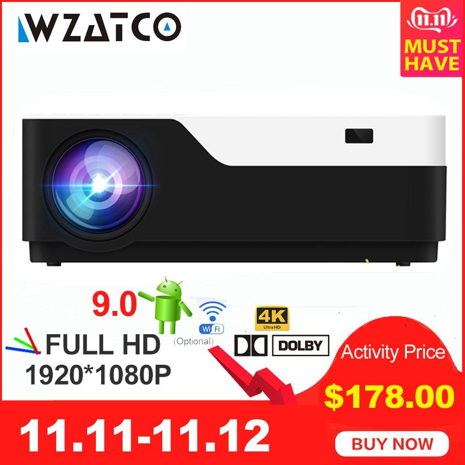 WZATCO 1920x1080P Android 9.0 WIFI soutien AC3 4K 200 pouces Full HD 1080P projecteur LED vidéo Proyector pour Home cinéma 5500lumen