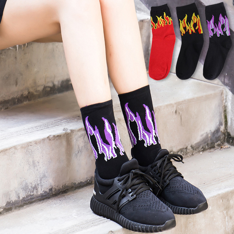 Hip Hop Hit Men Fashion  Color On Fire Crew Socks Red Flame Blaze Power Torch Hot Warmth Street Skateboard Socks Wowen Socks