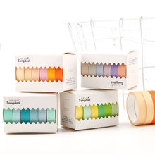6 Pcs/Set washi tape Colorful masking set Kawaii scrapbooking washitape Solid color stationery papeleria adhesive tap