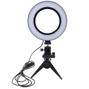 Image 2 - Photography LED Selfie Ring Light 16CM Dimmable Camera Phone Ring Lamp 6inch With Table Tripods For Makeup Video Live Studio