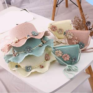 Handbag Bucket-Cap Straw-Woven Girls Kids Summer Flowers Beach-Hat Brim Sun-Protection