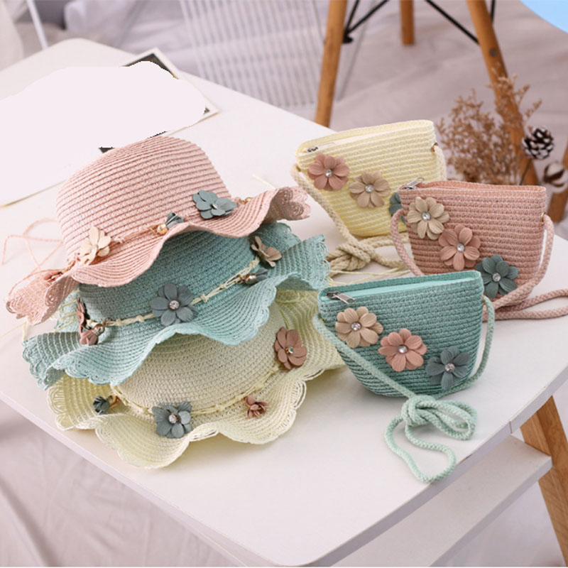 New Kids Girls Wide Brim Straw Woven Sun Protection Beach Hat Flowers Summer Travel Bucket Cap Portable Handbag For 3-8 Old Year