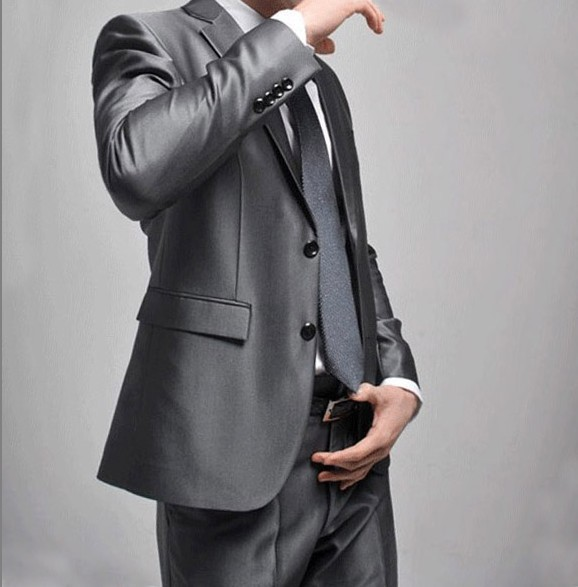 Business Mens 2020 Silver Wedding Suit Gray Suit Fit Autumn Pieces Two Youth Slim Suit Bridegroom