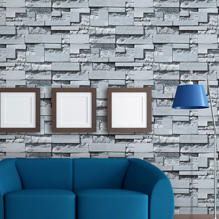 Retro 3D Brick Wallpaper Gray Brick Pattern Restaurant Clothing Store PVC Waterproof Engineering Wallpaper Manufacturers Wholesa