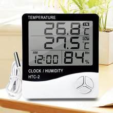HTC-2 digital termômetro higrômetro eletrônico lcd temperatura medidor de umidade estação meteorológica casa indoor relógio ao ar livre