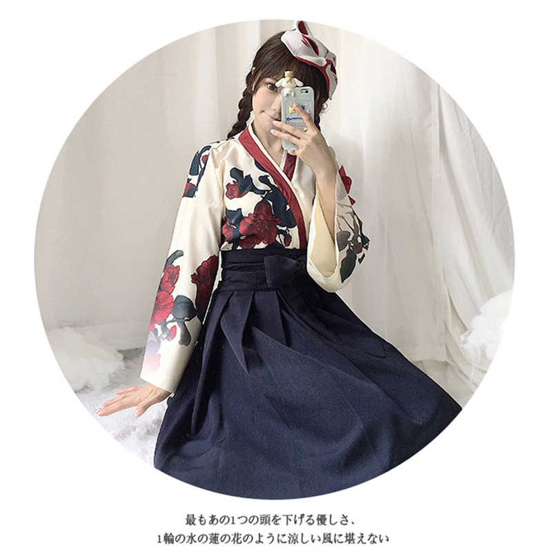 Japanese Style Retro Kimono Haori Floral Print Long Sleeve Woman Girls Party Cosplay Dress Summer Fashion Outfit Bow Skirt Sale