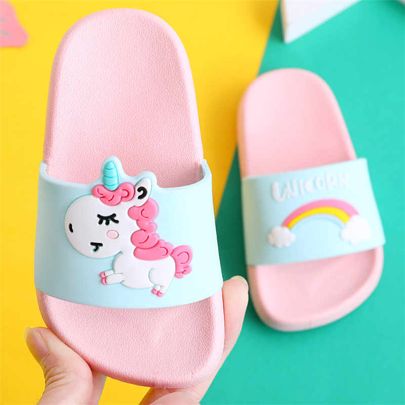 Unicorn Slippers for Boy Girl Rainbow Shoes 2019 Summer Toddler Animal Kids Indoor Baby Slippers PVC Cartoon Kids Slippers