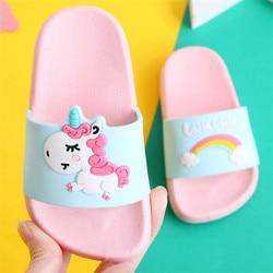 Unicórnio chinelos para o menino menina arco-íris sapatos 2019 verão criança animal crianças indoor chinelos de bebê pvc dos desenhos animados crianças chinelos