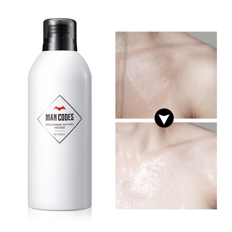 MANCODES 350ml Niacinamide Whitening Bathing Mousse Whole Body Wash Skin Deep Clean Skin Moisturizing Exfoliating Body Care Gel