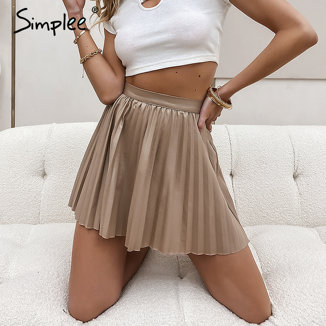 Simplee Fashion black women pleated skirt A-line high street sexy mini skirt 2020 Autumn winter high waist short skirts female 6