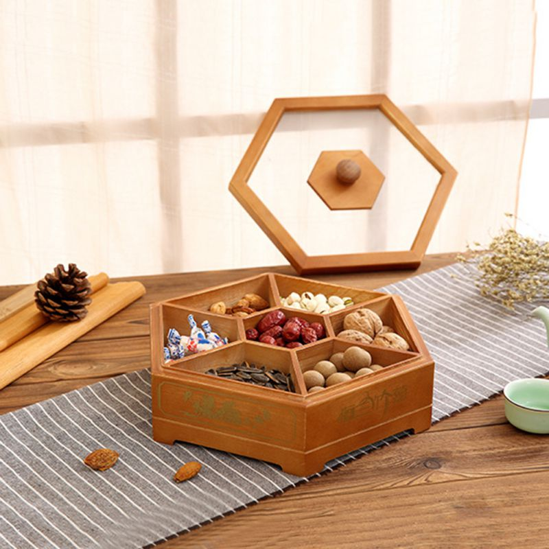 Wooden Candy Box Storage Dispenser With Lid Snacks  Nut Dried Fruit Server Display Plate Tray For Home Party Wedding Decor CM