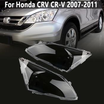 цена на Pair Front Headlight glass transparent lampshade PC lampshade Anti cracking lens shell for Honda CRV 2007 2008 2009 2010 2011