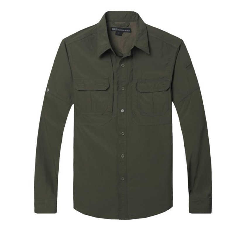 Erkek savaş uzun kollu çabuk kuruyan kumaş düz renk gömlek açık ordu fan spor tırmanma hızlı kurutma taktik gömlek